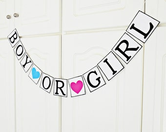 FREE SHIPPING, Boy or Girl Banner, Baby shower decorations, Baby gender announcements, Baby photo prop, Mother and baby gift, Hot pink, Blue