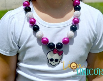 Monster High Chunky Necklace Pearl Pink, Black, Rhinestone White