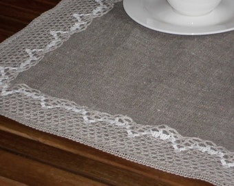 Table topper with lace rustic natural linen burlap table runner gift in vintage style
