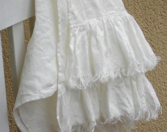 Ruffled linen towel natural white frayed guest bathroom towel in shabby chic french cottage vintage style
