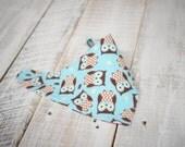 Look Hoo's Drooling Bib - Owl Drool Bib - Reversible Bandana Bib - Owl Print Bib -
