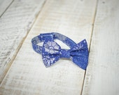 Blue Snowflakes Fabric Bowtie- Silver and Blue Bowtie - Velcro Bowtie - Baby Bowtie - Toddler Bowtie