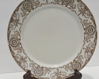 Vintage Duraline (Grindley) Hotelware Co. 8-79 brown Dinner Plate