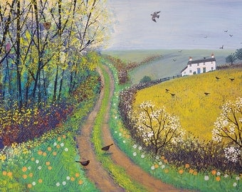 Print of English countryside in spring with lane, cottage and birds from an original acrylic painting ' Spring Lane' by Jo Grundy