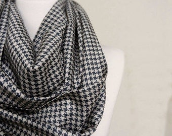 Little Houndstooth Soft Silky Fabric Infinity scarf, Scarves, Shawls, Spring - Fall - Winter - Summer fashion