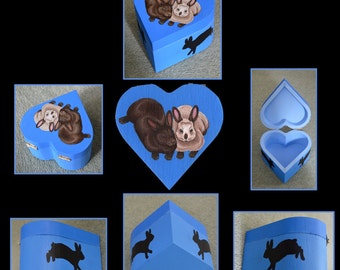 Rabbit Trinket, Jewellery or Memory Box - SALE - Cute Trinket Box Gift Idea, Agouti, Siamese Rabbits Jumping Binking