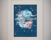 """Great Gatsby  F. Scott Fitzgerald """"I wish I had done everything on earth with you"""" great book lover literature art print gift"""
