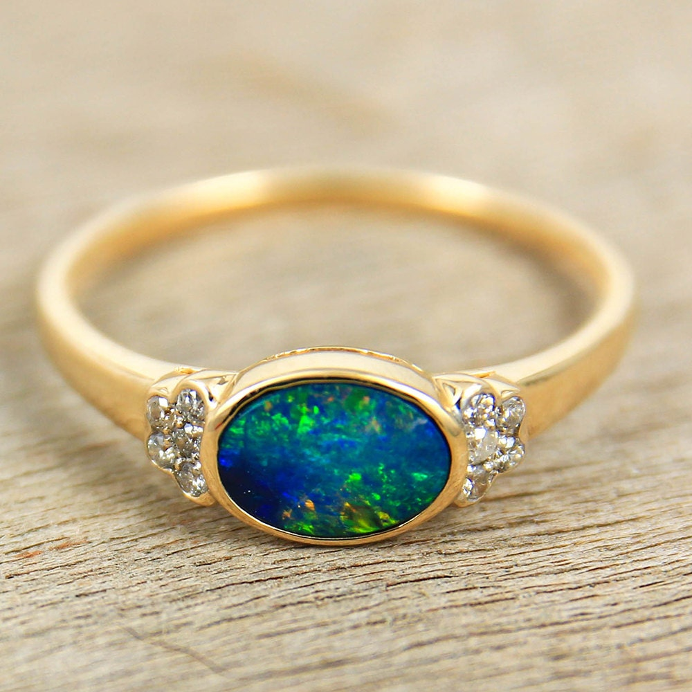 Opal Engagement Rings Black Opal & Diamo...