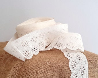 vintage lace ivory 20 yards DIY wedding supply, craft supply, Mason jar crafts,  Embellishments Lace Trim Notions