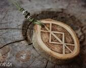Bindrune norse wood pendant