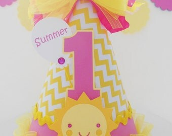Candy Pink Sunshine Girl - Pink and Yellow Chevron - You Are My Sunshine Birthday Party Hat - Personalized