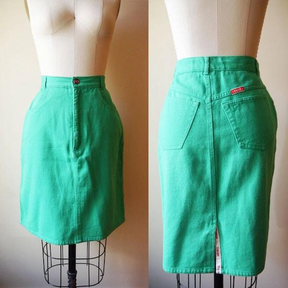 sale 1980s green denim skirt coca cola vintage skirt