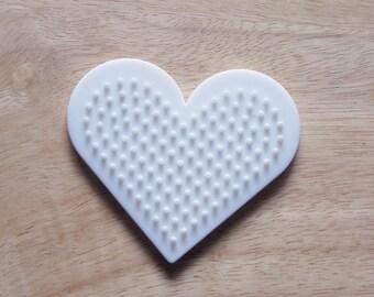 Perler Bead White Heart Pegboard, Ironing Paper, Instructions, Craft Supply, Church Craft. School Craft