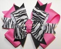 Zebra Hair Bow Hot Pink Black Ribbon Girls Toddler Childrens Accessories Safari Animal Print 1st Birthday Party Boutique M2M Barrette Clip