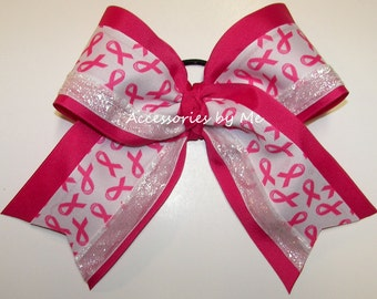 Bulk Price, Sparkly Hot Pink Cancer Bow, Breast Cancer Hot Pink White Cheer Hair Ribbons, Pink Football Cheerleader Bow, Pink Volleyball Bow