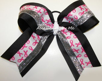 Sparkly Cancer Bow, Pink Breast Cancer Clip, Breast Cancer Pink Black Silver Big Cheer Bow, CPink Cancer Cheerleader Bow, Bulk Cancer Bows