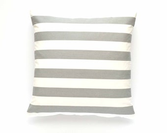 "Striped Pillow Cover, Gray Throw Pillow, Decorative Pillow Cover, 20"" x 20"""