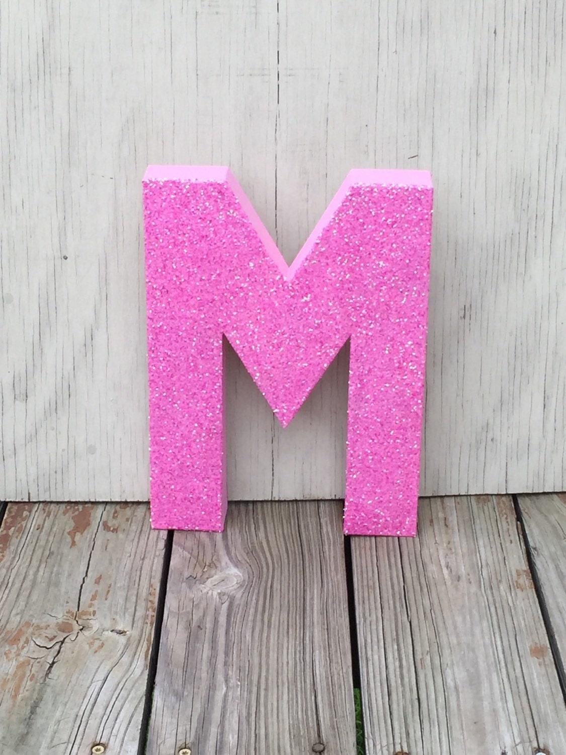 Decorative pink glitter 12 stand up wall letters photo for Pink glitter letters