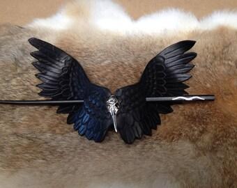 Handmade Leather Raven Hair Barrette