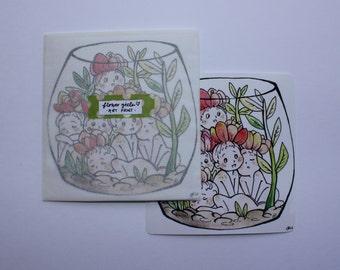 Flower Girls Terrarium Art Print