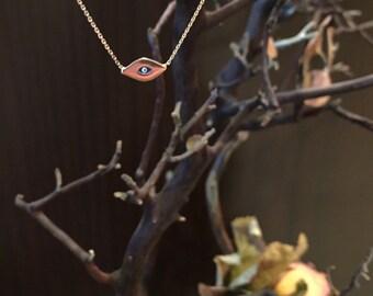 Tiny 14k Gold Evil Eye Necklace
