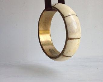 Bangle Bracelet Vintage Bracelet  Brass and Bone  India  Brass Bracelet Boho JewelrY   Bohemian Cuff Bracelet Womens Accessories
