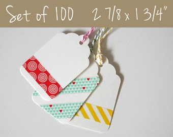 100 Blank White Tag Set, Favor Tag