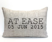 """at ease pillow, military retirement gift, military gift, army gift, navy gift, air force gift - """"At Ease"""""""
