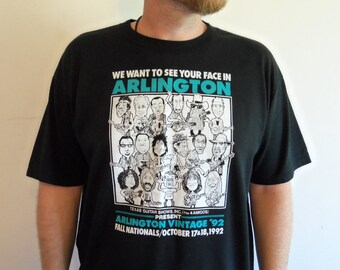 Vintage 90s Texas Guitar Shows Arlington Vintage Famous Guitar Players Cartoon T Shirt