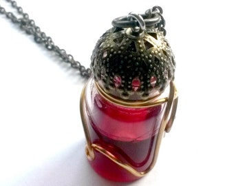 Blood vial necklace Steampunk vial Handmade Gift