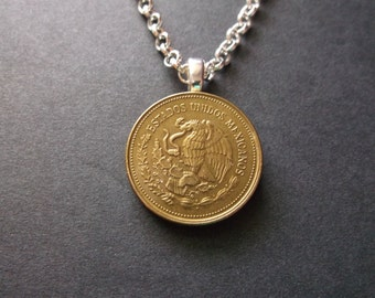 Mexicanos Coin Necklace Twenty Dollar Gold Colored Coin Pendant with Bail and Chain