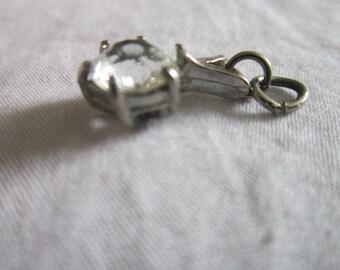 Vintage Silver & Solitaire Stone Necklace Pendant