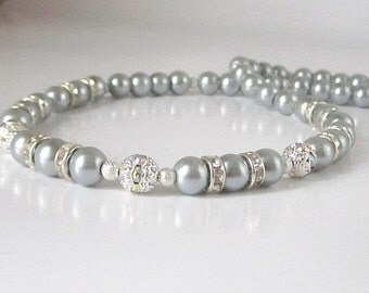 Grey Pearl Bridal Jewellery, Platinum Bridesmaid Necklace, Silver Grey Wedding Pearls, Bridal Party Gifts, Pearl Bridal Sets, Grey Wedding