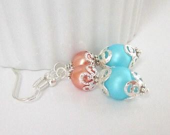 Peach Aqua Pearl Earrings, Coral Bridesmaid Jewellery, Aqua Bridal Sets, Peach Aqua Wedding, Pearl Drop Earrings, Bridesmaid Gifts