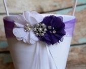 Purple Flower Girl Basket , Wedding Basket , Flower Girl Basket ,