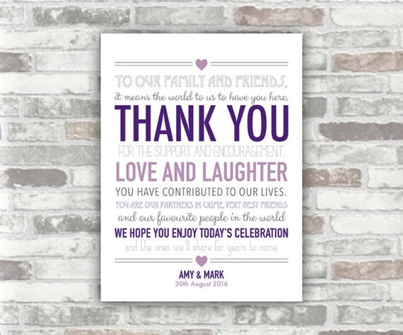 PRINTABLE Personalised Wedding Thank You Sign Table Decor - Digital Art Print File - 6x8 - Purple, grey, lilac typography personalized