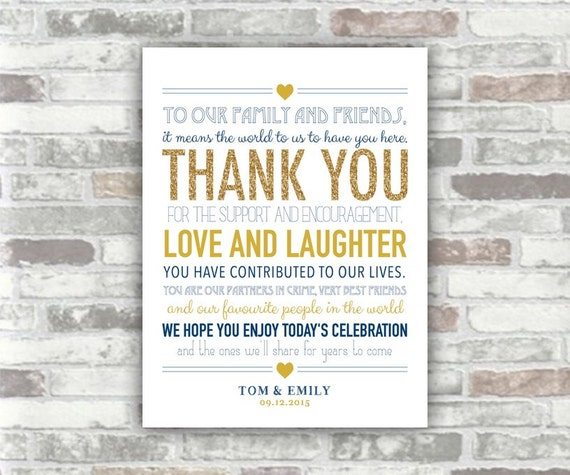 PRINTABLE Digital file - Gold and Navy Wedding Thank You Sign Table Decor Download Personalised 6x8 diy print your own - place setting