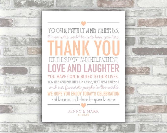 PRINTABLE Wedding Thank You Sign Digital Print File - Personalised - Lavender, Blush Pink - Table place setting - Diy Print your own - 6x8
