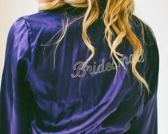 Rhinestone Title Bridesmaid Gift and Bridal Party Robes, Set of 2 Robes, Rhinestone Robe/Bride Robe