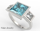 Aquamarine Engagement Ring,Unique Engagement Ring,3 Stone Engagement Ring,Princess Cut Aquamarine Engagement Ring,Three Stone Ring