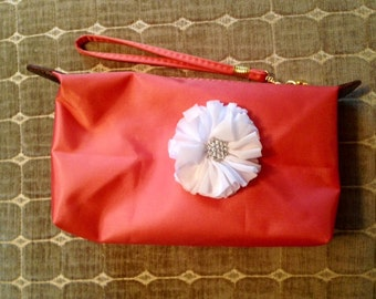 Coral Makeup / Cosmetic Bag / Clutch