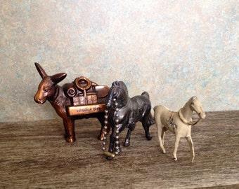 Vintage Carnival prizes - Souvenir Horses - Collection of Minature Horses - metal Horses