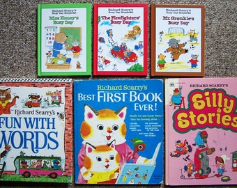 12 Richard Scarry Books - Childrens Book Collection - Best First Book Ever, Early Bird, Busy Day, Silly Stories, Isn't Pig Won't Naughty?