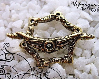 """Brass Toggle Clasp - Handmade Toggle - Hexagon Clasp - Handmade Findings L1662(1)""""Plankton"""" collection. Designed and made by Anna Bronze."""