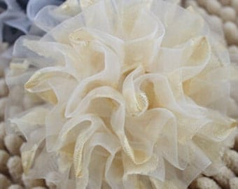 Lager Handmade Organza Flower  (3 inches) in Cream Ivory BJ-011 Ready To Ship