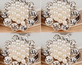 4 Flat Back Rhinestone and Pearl Button (18mm) DT-004-A