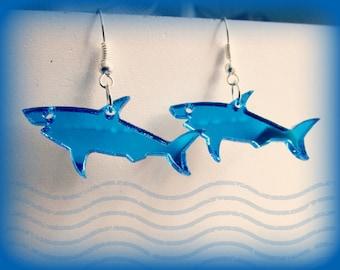 Mirrored Great Blue OR Black Shark Pendant Earrings Shark Week Costume Jaws Sharknado