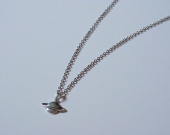 Silver Saturn Charm Necklace