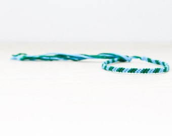 Friendship Bracelet Turquoise and Green Striped Woven Bracelet Embroidery Threads / Stocking Stuffer
