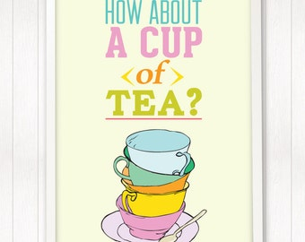 kitchen decor, cup of tea, tea party, nursery art print, baby girl